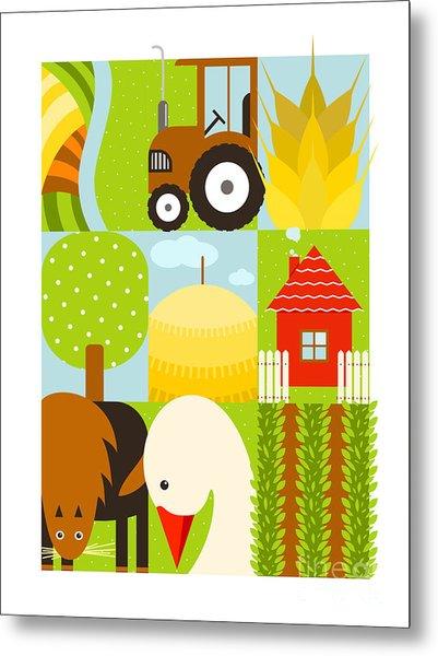 Flat Childish Rectangular Agriculture Metal Print