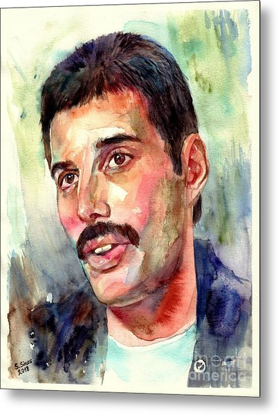 Freddie Mercury Watercolor Metal Print