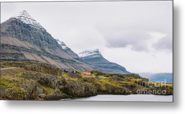 High Icelandic Or Scottish Mountain Landscape With High Peaks And Dramatic Colors Metal Print