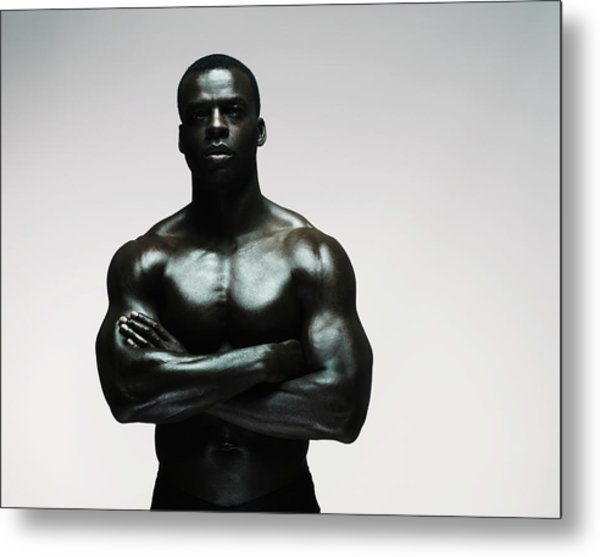 Muscular Man Standing With Arms Out Metal Print