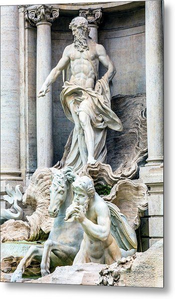 Neptune, Nymphs, Seahorse Statues Metal Print by William Perry