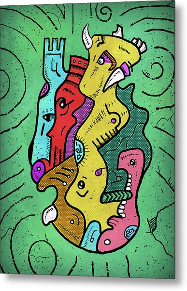 Metal Print featuring the digital art Psychedelic Animals by Sotuland Art