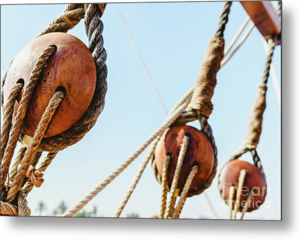 Rigging And Ropes On An Old Sailing Ship To Sail In Summer. Metal Print