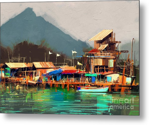 Seascape Painting Showing Old Fishing Metal Print