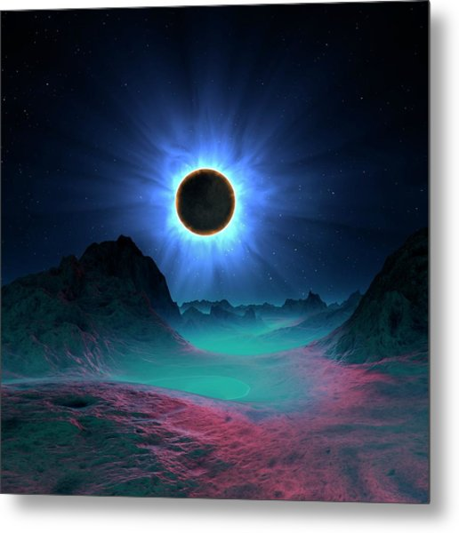 Solar Eclipse In Alien Planetary System Metal Print