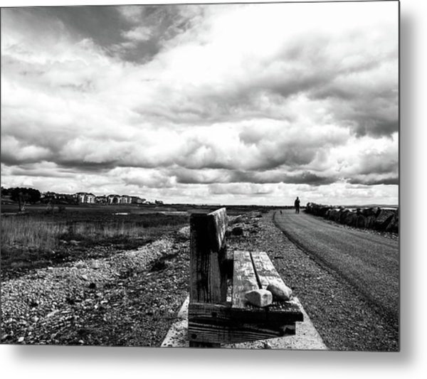 Metal Print featuring the photograph 2 Stones On Bench by Edward Lee