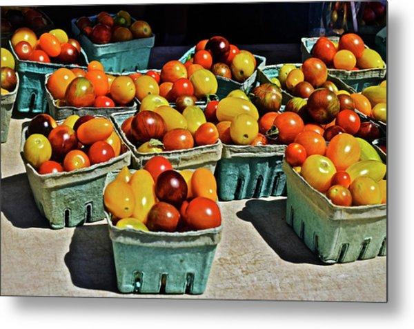 Metal Print featuring the photograph 2017 Monona Farmers' Market Heirloom Cherry Tomatoes by Janis Nussbaum Senungetuk