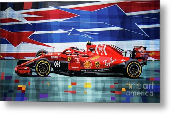 2018 Usa Gp Ferrari Sf71h Kimi Raikkonen Winner Metal Print