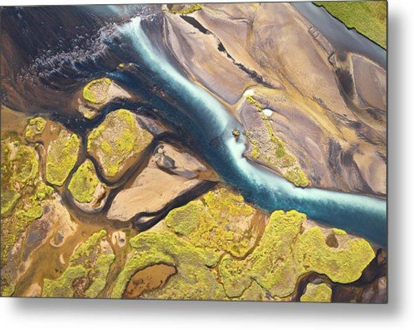 Iceland Aerial View Metal Print by Werner Van Steen