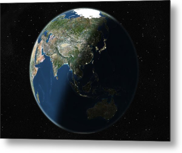 Globe Centred On Asia And Oceania, True Metal Print