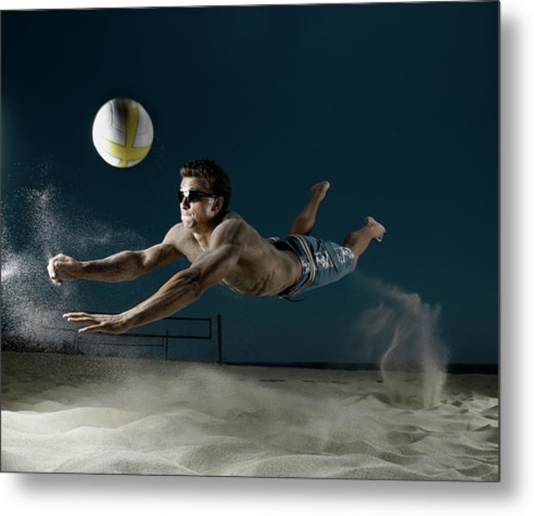 Male Beach Volleyball Metal Print
