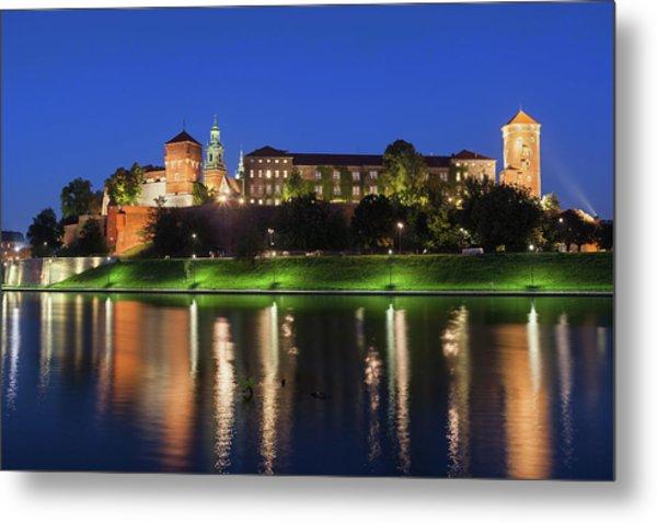 Wawel Royal Castle At Night In Krakow Metal Print