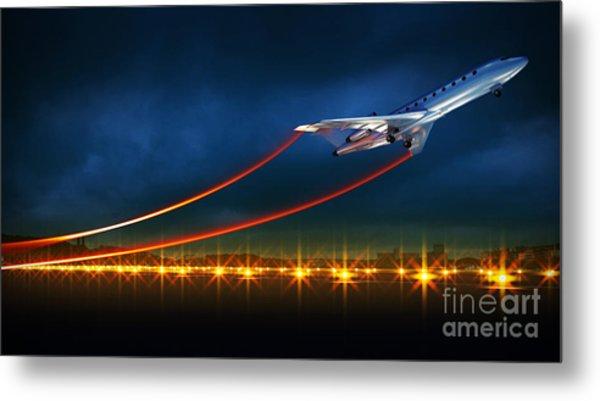 3d Illustration Of An Aircraft At Take Metal Print