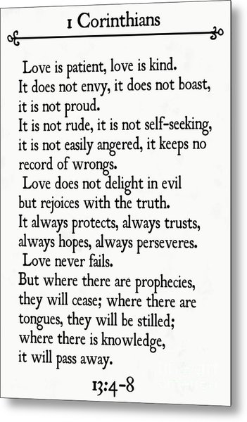 1 Corinthians 13 4-8- Inspirational Quotes Wall Art Collection Metal Print