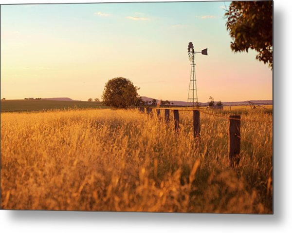 Metal Print featuring the photograph Australian Windmill In The Countryside by Rob D