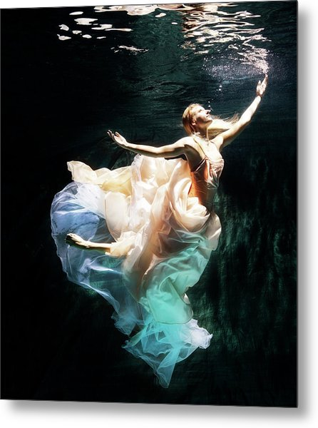 Female Dancer Performing Under Water Metal Print by Henrik Sorensen