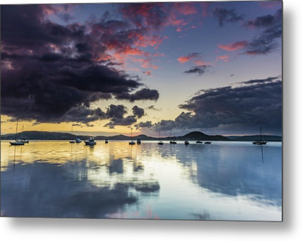 Overcast Morning On The Bay With Boats Metal Print