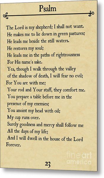 Psalm 23-bible Verse Wall Art Collection Metal Print