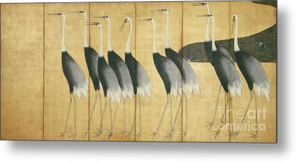 6 Panel Screen Depicting Cranes, Edo Period  Metal Print
