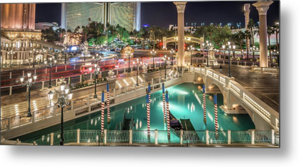 Metal Print featuring the photograph View Of The Venetian Hotel Resort And Casino by Alex Grichenko