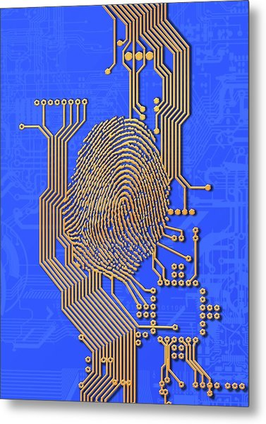 Biometric Security, Artwork Metal Print by Victor Habbick Visions