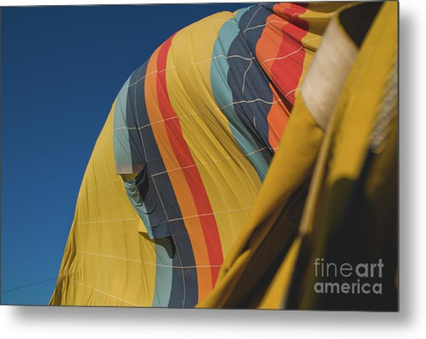 Colorful Balloons Flying Over Mountains And With Blue Sky Metal Print