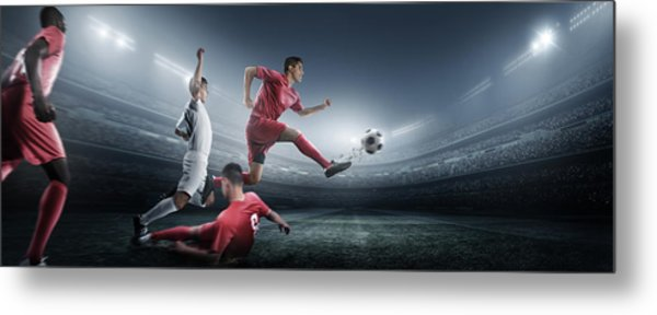Soccer Player Kicking Ball In Stadium Metal Print by Dmytro Aksonov