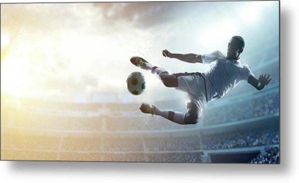 Soccer Player Kicking Ball In Stadium Metal Print by Dmytro Aksonov