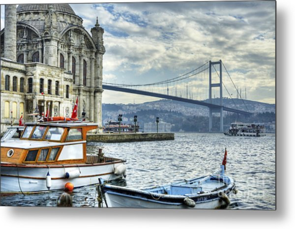 A Beautiful View Of Ortakoy Mosque And Metal Print by Senai Aksoy