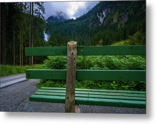 A Bench In The Woods Metal Print