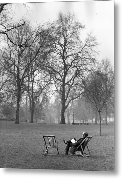 A Book In The Park Metal Print