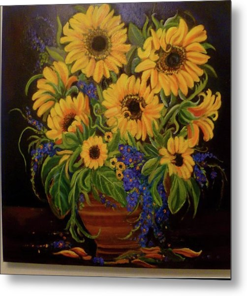 A Bouquet Of Sunflowers Metal Print by Janet Silkoff