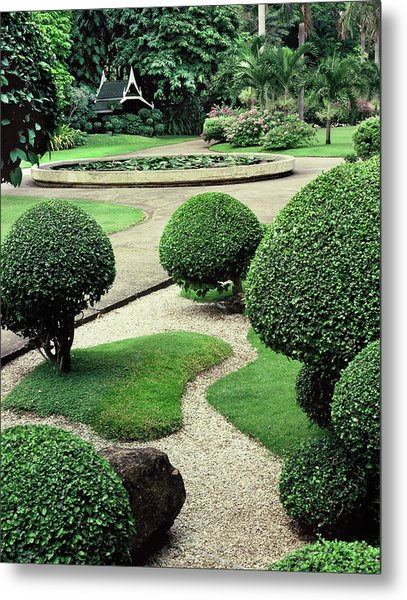 A Classic Traditional Thai Garden In Metal Print