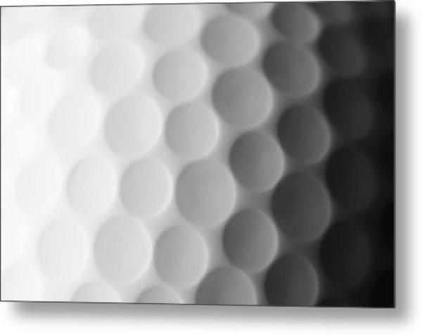 A Close Up Shot Of A Golf Ball, White Metal Print