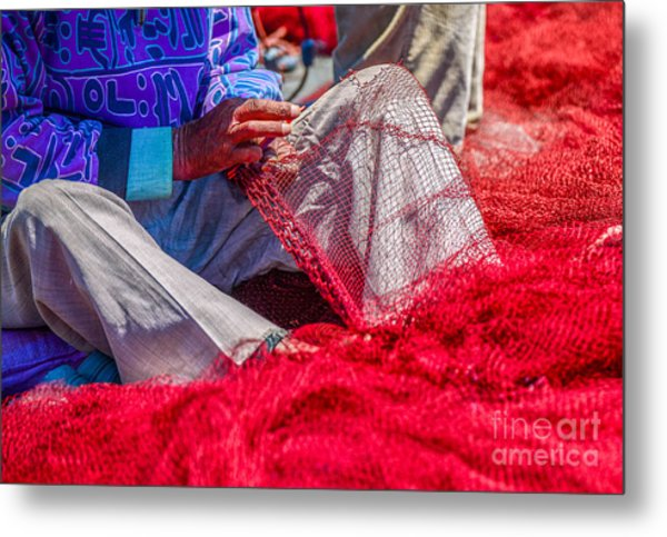 A Closeup To Fishermans Hands Sewing Metal Print by Pixinoo