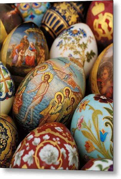 A Collection Of Painted Porcelain Easter Eggs By The Imperial Porcelain Factory Metal Print