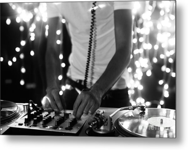 A Cool Male Dj On The Turntables Metal Print by Dubassy