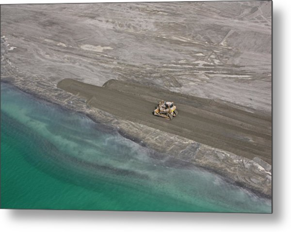 A Digger Moves Sand In Abu Dhabi Metal Print