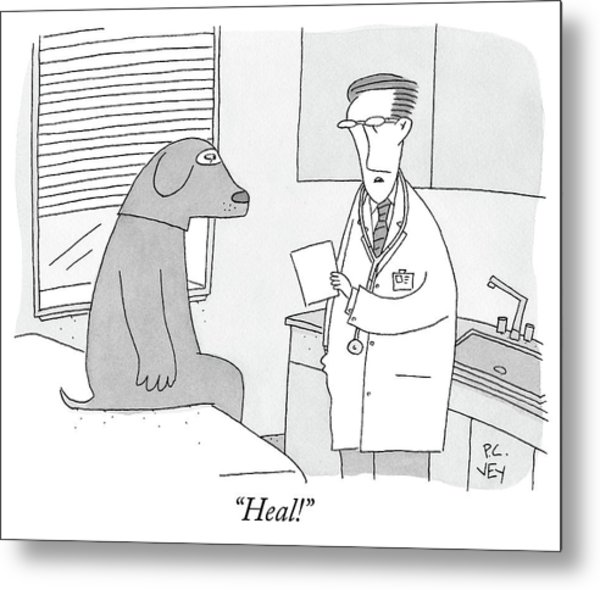 A Doctor Speaks To A Man In A Dog Costume Who Metal Print