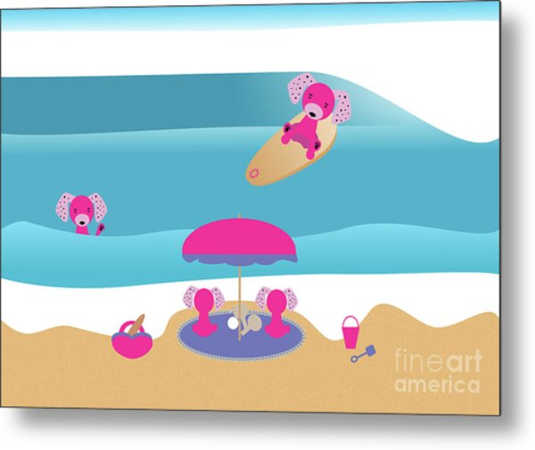 A Dog Family Surf Day Out Metal Print