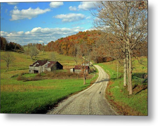 Metal Print featuring the photograph A Farm On An Autumn Day by Angela Murdock