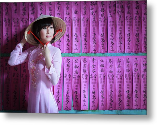 A Girl In A Pink Ao Dai And A Non La Metal Print by Jethuynh