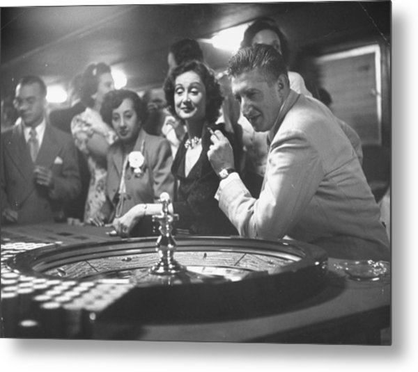 A Group Of People Gambling At A Roulette Metal Print by Gordon Parks