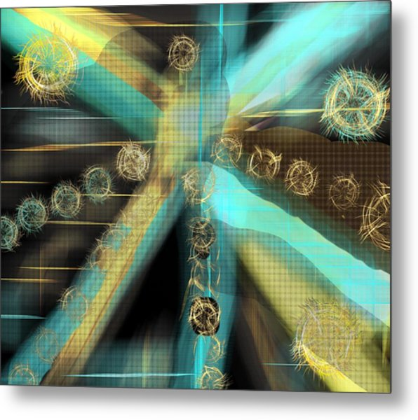 A Light Beams In Gold Brown And Blue Metal Print