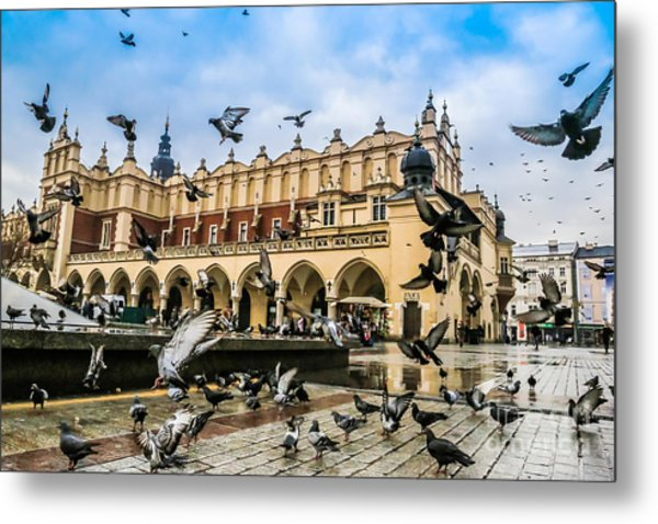 A Lot Of Doves In Krakow Old City Metal Print