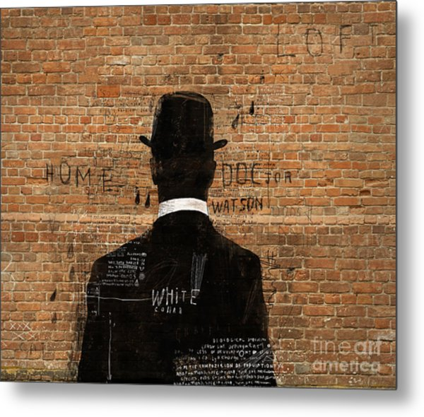 A Man In A Hat Who Turned His Back On Us Metal Print