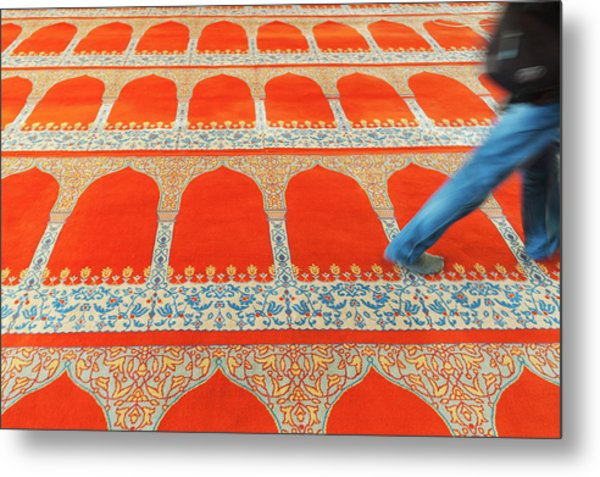 A Person Walking Over The Colourful Metal Print