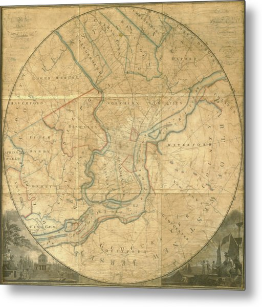 A Plan Of The City Of Philadelphia And Environs, 1808-1811 Metal Print