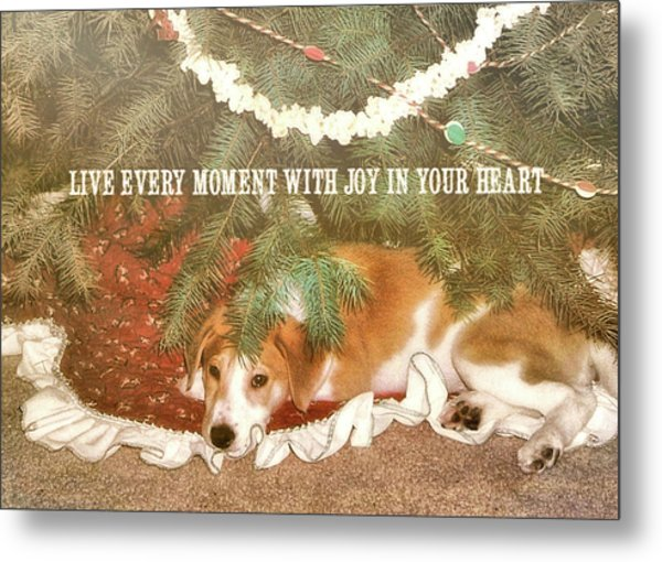 A Puppy For Christmas Quote Metal Print by JAMART Photography