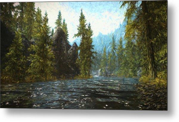A River Flows Thru It Metal Print